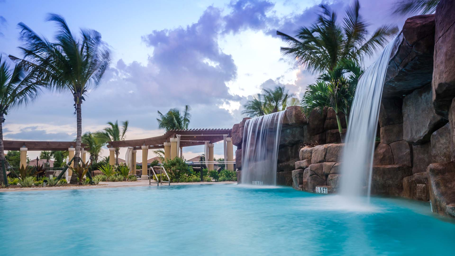 Amazing Resort-Style Pool Waterfalls at Treviso Bay